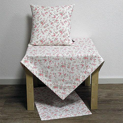 Tischdecke Mitteldecke GRACE kleine Rosen 110x110cm weiß rosa Hossner