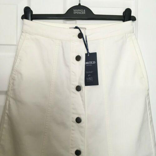 M/&S Ladies Skirt Ecru Denim Stretch Button Up Aline Maxi BNWT Marks Limited