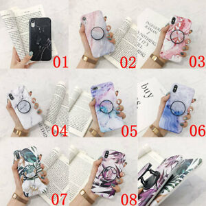 For-iPhone-XS-Max-XR-6s-7-8-Plus-X-Marble-Pattern-Stand-Holder-TPU-Case-Cover