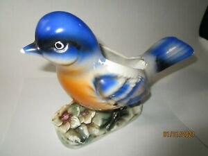 Vintage Large Porcelain Blue Bird and Flowers Decorative Planter