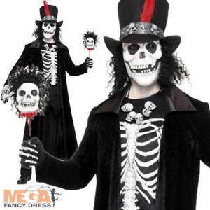Image is loading Voodoo-Skeleton-Men-039-s-Halloween-Fancy-Dress-  sc 1 st  eBay & Voodoo Skeleton Menu0027s Halloween Fancy Dress Costume James Bond ...