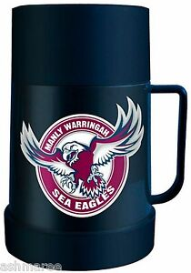 NRL Manly Sea Eagles Plastic Travel Thermos Flask Mug for Hot or Cold Liquids