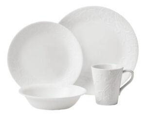 Corelle Embossed Bella Faenza 16-piece Dinnerware Set Service for 4 White 1114995 071160083899  sc 1 st  eBay & Corelle Embossed Bella Faenza 16-piece Dinnerware Set Service for 4 ...