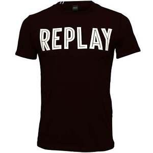Replay-Bold-Logo-Men-039-s-T-Shirt-Navy