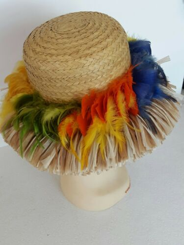 "Vintage ""Happy Cappers"" Straw Hat Multi Colored Fe"