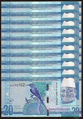 2015 P-33 New Lot 10 PCS UNC /> New 1//10 Bundle Gambia 20 Dalasis
