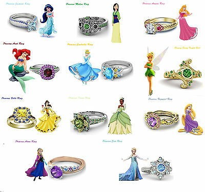 0.85Ct Round Cut 14K Multicolor CZ Disney Princess Engagement Ring For Women's