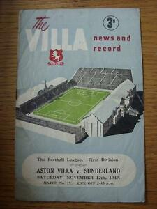 12-11-1949-Aston-Villa-v-Sunderland-folded-worn-on-fold-creased-rusty-stapl