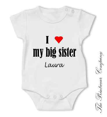 Personalised I Love My Auntie So Much Baby Grow Babygrow Bodysuit Sister Brother