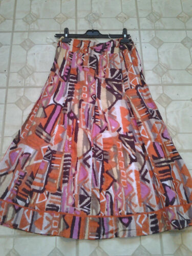 Adini 100/% cotton 8 panel fully lined cotton voile skirt fixed waistband
