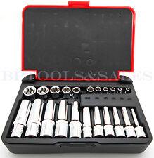"""22-PC 1/4"""" & 3/8"""" DR. Female TORX Socket Set Star Socet E4-E10 E11-E18 Sockets"""