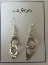 TIBETAN SILVER HANDCUFF EARRINGS  POLICE GOTHIC PUNK  FIFTY SHADES, GIFT