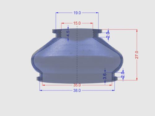 2 X Spurstangenkopf Silikon Manschette 15 35 27 Staubmanschette Traggelenk Blue