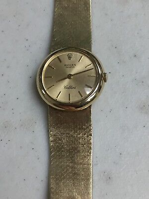 VINTAGE ROLEX GENEVE CELLINI SOLID 14K GOLD LADIES WATCH