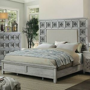 Beautifully-Carved-Rosette-Pattern-Queen-Padded-Fabric-Bed-Gray-1pc-Furniture