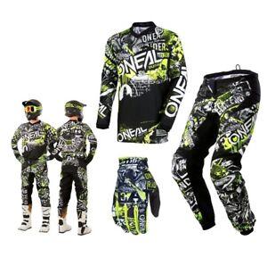 Oneal-Element-Combo-Attaque-Noir-Fluo-Enduro-Motocross-Pantalons-Cross-Chemise