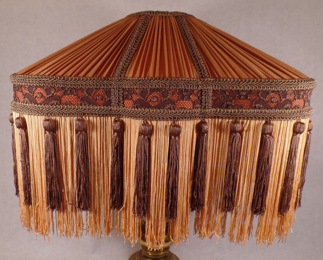 Copper & braun Deco Style Pleated Polyester Fringed Fabric Table Lamp Shade  779