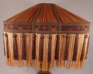 New Beige /& Champagne Victorian Style Table Lamp Fabric Shade With Fringe SS798B