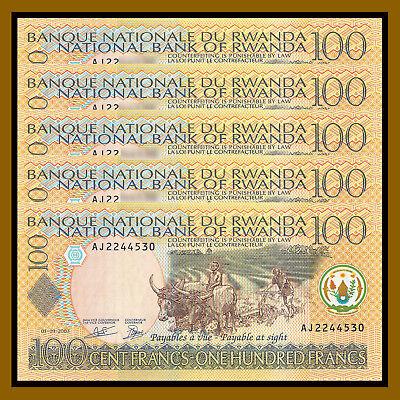 Rwanda 100 Francs 2003 P-29b Farming Buffalo Unc