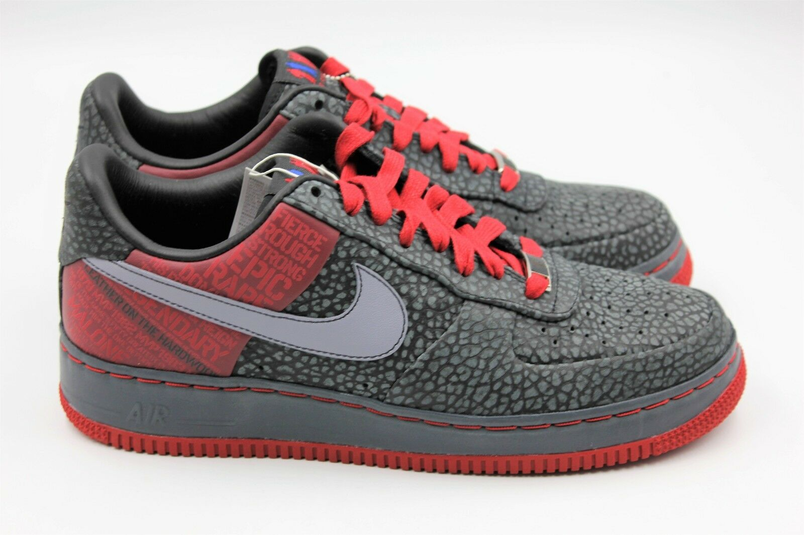NIKE Air Force 1 Supreme '07 (Malone) - Black Red - Men's 8 - NEW Authentic