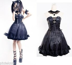Black-princess-robe-punk-rave-gothique-lolita-robe-de-bal-Q-120