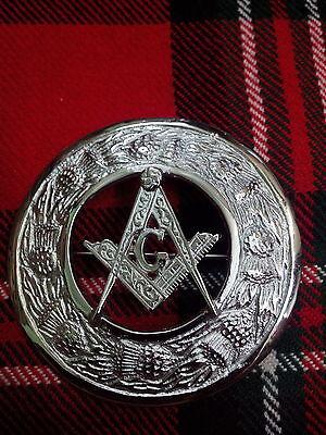 New Kilt Fly Plaid Masonic Crest Brooch Chrome Finish/Scottish Fly Plaid Brooch