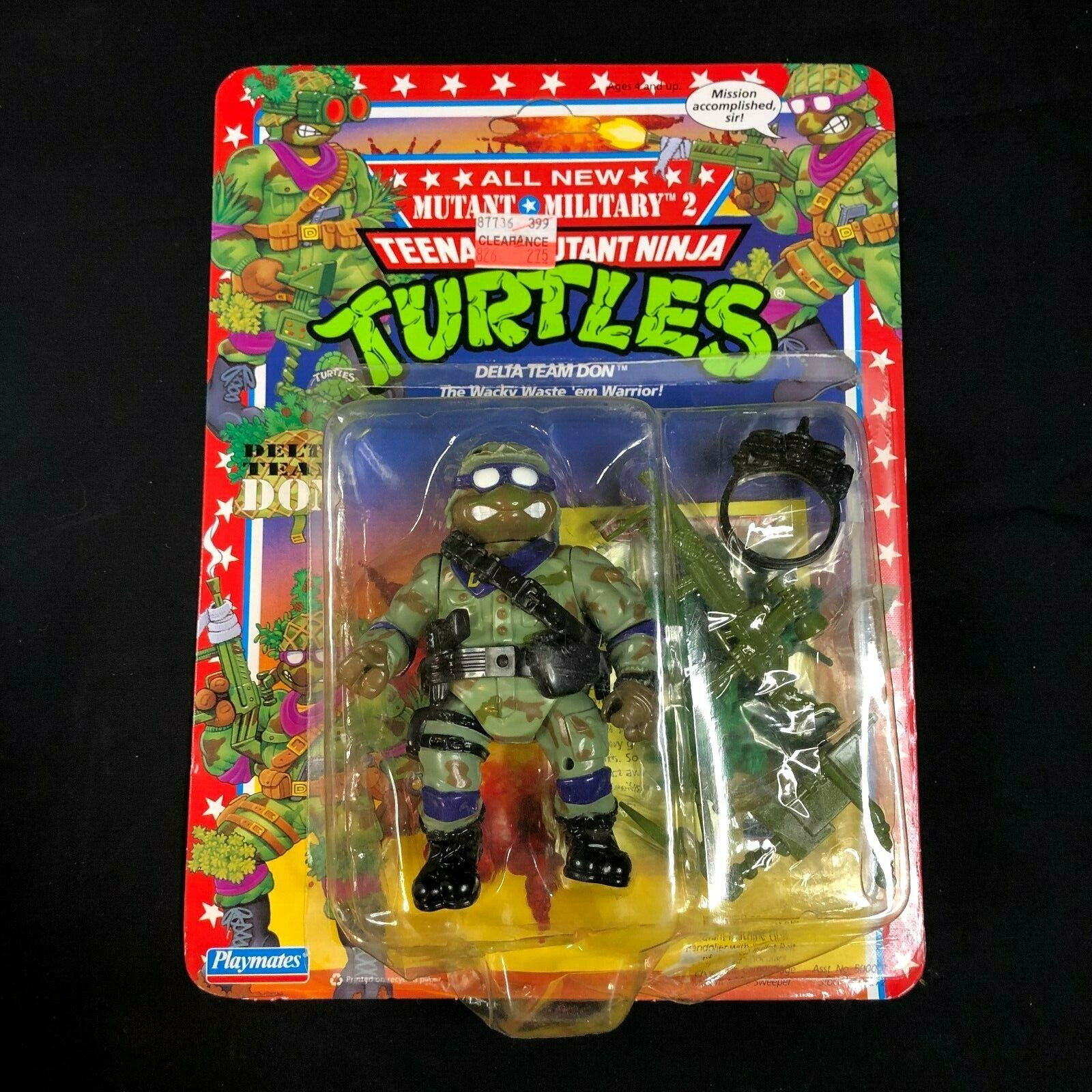 Vintage 1992 Teenage Mutant Ninja Turtles TMNT USN  Delta Team Don  Rare HTF MOC