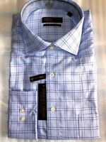 $70 Donald Trump 17.5 X 34/35 Blue Check Spread Textured Cotton Dress Shirt