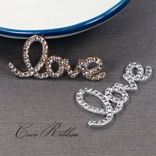 Alloy Rhinestone Crystal Love Word Letter Embellishment Flatback Cabochon A18