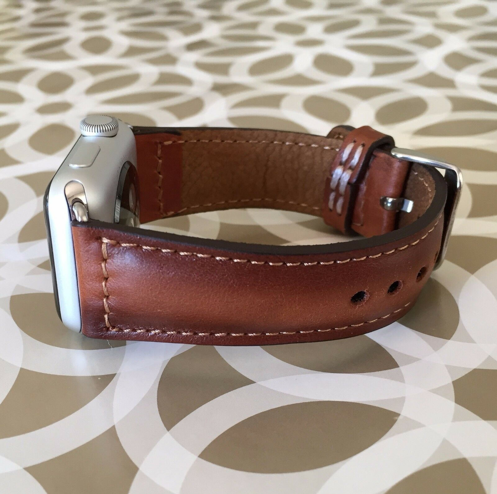 iwatch: Handmade 44mm 42mm 40mm 38mm Apple Watch iWatch Band Tan Brown Leather Strap