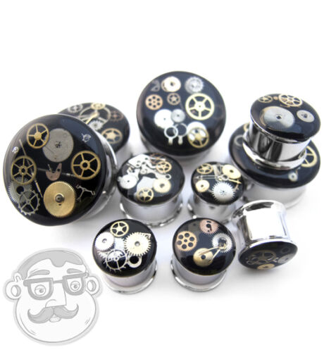 """Pair of  Stainless Steel Steampunk Gear Plugs 1//2/"""" - 1 Inch Gauges"""