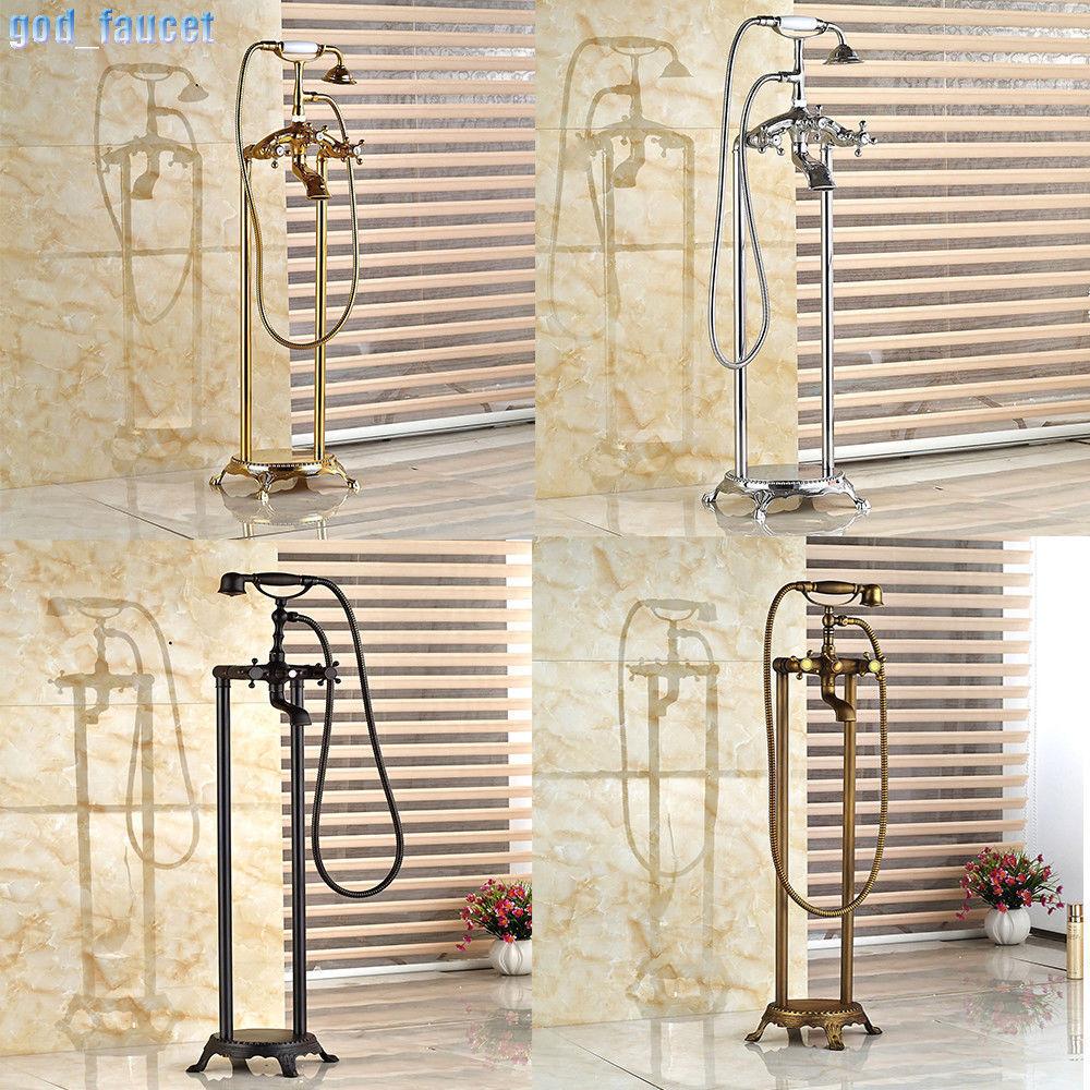 4 Farbe Telephone Floor Mount Bathroom Tub Mixer Faucet Hand Held Shower Tap