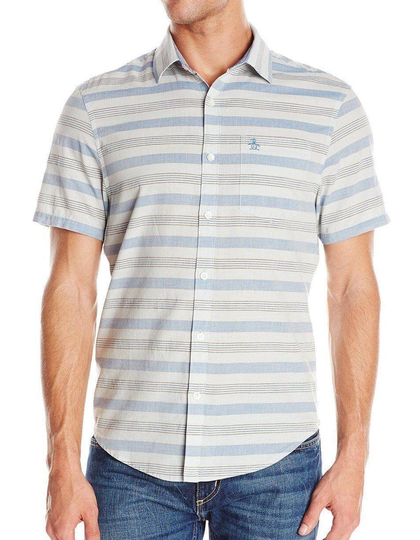 Original Penguin Horizontal Striped Woven Shirt, Short Sleeves