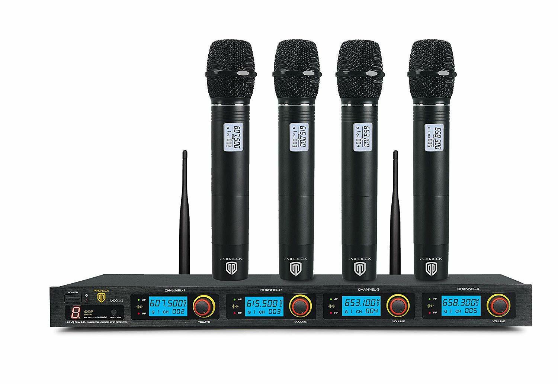 4-Channel UHF Wireless Microphone System Professional Microfonos Inalambricos