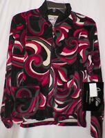 Size Petite Large Sweatshirt Jacket Hot Pink Magenta Black Velour Onque