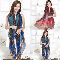 New Retro Women Lady Long Bohemian Voile Soft Silk Scarf Large Shawl Scarves