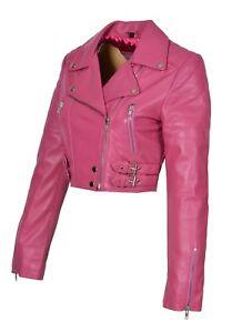 boléro avec court bustier ajusté court femme manteau biker pour cuir rose avec en Veste TO7ZYYf
