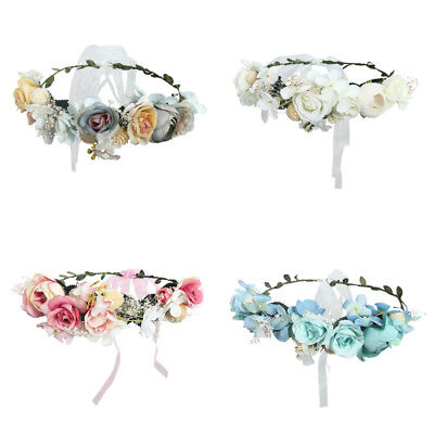 Women Ladies Wide Lace Flower Party Headband Floral Hair Band Accessories Z