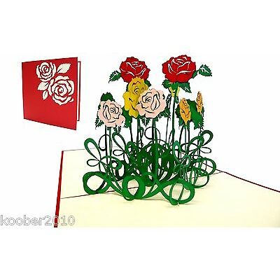POP UP 3D Klappkarte, Muttertag Rosen, Glückwunschkarte, Geburtstag, Dank