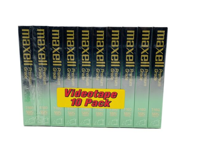 Maxell T-160 Premium Grade 8 Hour Blank VHS Tapes NEW & FACTORY SEALED 10-Pack