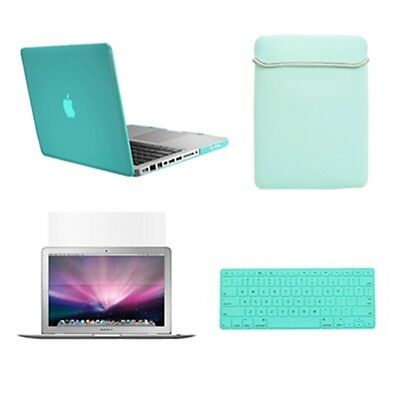 """Keyboard Cover Bag LCD 4in1 Rubberized TIFANY BLUE Case for Macbook White 13/"""""""