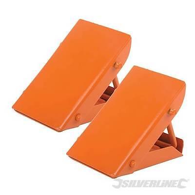 Silverline Folding Steel Wheel Chocks Highly Visible Bright Orange AP525748