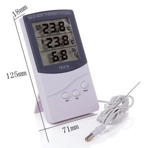 LCD Digital Thermometer Innen Außen Hygrometer Temperatur MinMax Außenfühler CP