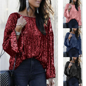 Women-039-s-Half-Sleeve-Sequin-Sparkly-Glitter-Tops-Party-Clubwear-Blouse-shirt-LIU9