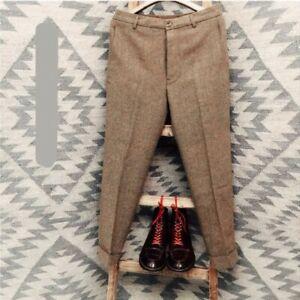 Men Winter Straight Pants British Retro Trousers Herringbone Wool Blend Trousers