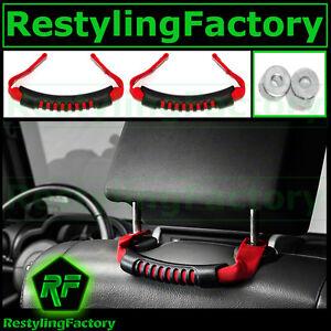 Extreme-RED-Rear-Side-Grab-Handle-Windshield-Pillar-for-07-17-Jeep-JK-Wrangler
