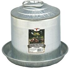 2 Gallon Gravity Double Wall Galvanized Metal Waterer Chicken Coop Poultry Fount
