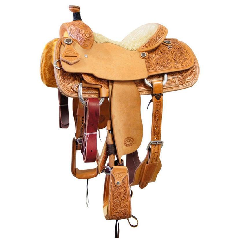 Western Natural Leather Roper Ranch Hand Carved 17  Saddle   Croco Print
