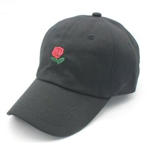 Rose Dad Hat Drake Snapback Flower Embroidery Curved Cap Men Women ... f3e2f993a95