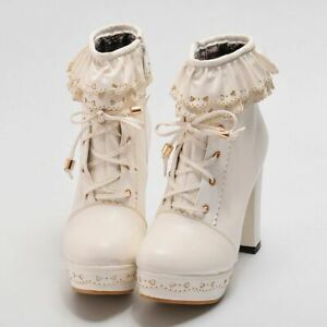 Sweet-Lolita-Women-039-s-Cosplay-Party-Shoes-Chunky-High-Heel-PU-Lace-Up-Ankle-Boots